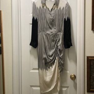NWT Black and cream front ruched dress